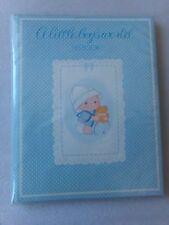 Vtg Boys Birth- 5yr Shower Gift Memory Milestones BLUE Keepsake Brag Baby Book