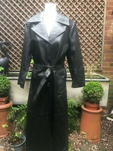 Women's black leather very very long fitted coat size 14 UK