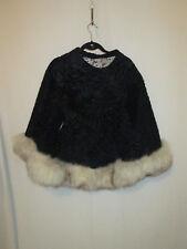 Furs by Bricker (Detroit) Black Lamb and Fox Trim Cape S