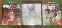 Lot Of 3  Xbox One Games, NBA2K16, Madden15, Fifa15