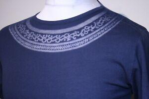 Pretty Green Neck Pattern T-Shirt - XS/S - Navy Blue - Rare Mod 80s Casuals Top