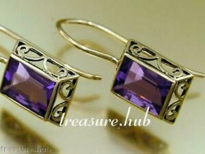 E158 Genuine 9K or 18K Yellow or Rose Gold Emerald-cut Natural Amethyst Earrings