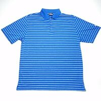 Nike Fit Dry Golf Blue White Striped Short Sleeve Polo Shirt Men's Size Large L