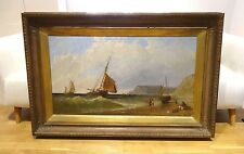 Fine Large 19h Century English Coastal Ships Sailing Marine Oil Painting MEADOWS