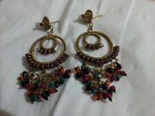 Wedding/Party Wear Gorgeous Beautiful Multi Color Gold Plated Long Earring Set