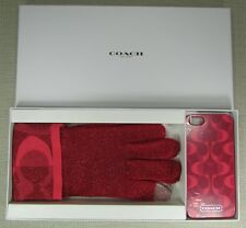COACH TOUCH TECH GLOVES & iPhone 5 CASE GIFT SET Pink Scarlet Style F67242 NEW
