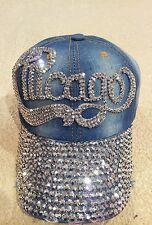 Denim*Cap*Baseball*Rhinestones*New*One Size*Chicago*Embellished*Stones*Bling!