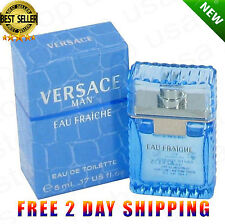 Versace Man Cologne Blue Men Perfume Eau Fraiche Mini Travel EDT 0.17 oz 5 ml