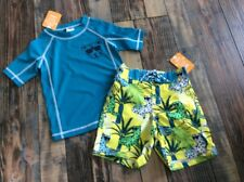 Gymboree Swim Shop Nwt Cheetah Rash Guard Swim Suit Trunks Set Boys 18-24 M
