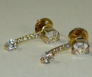 Signed HENRI BENDEL Luxe Asscher Swarovski Stud Earrings w/Crystal Drop Jacket