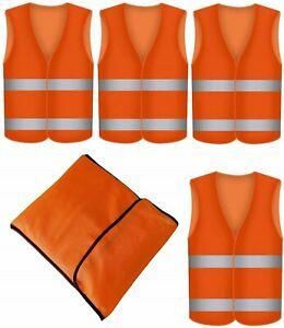 4 Warnweste Orange Sicherheits Weste Signal Unfall Warnwesten Set mit Tasche