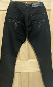 Rock Revival Celine Skinny Black Denim Embellished Jeans Size 31 × 33 New