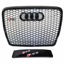 RS6 Front Sport Hex Mesh Honeycomb Grill Gloss Black For Audi A6/S6 C6 2005-2011