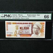 1993 Guinea - Bissau 1000 Pesos, Pick 13b* Replacement/Star Note, PMG 66 EPQ