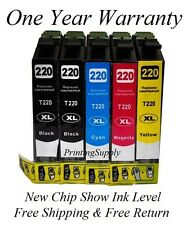 5PK Hi-Yield Ink For Epson 220XL WorkForce WF2630 WF2650 2660 XP320 XP420 XP424