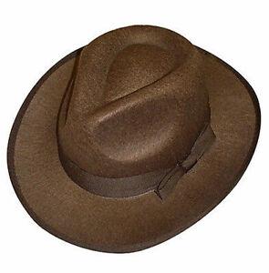 Brown Felt Fedora Hat Western Explorer Fancy Dress Film Indiana Temple Raider