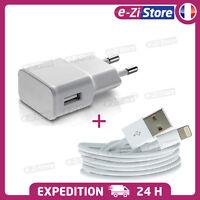 CHARGEUR IPHONE 5 6 7 8  PLUS X Xs Xr XMax USB LOT KIT 2 EN 1 CABLE + SECTEUR 2A