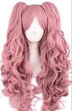 Pink Vocaloid-Miku Anime Cosplay Long Curly Wig +2 Clips on Ponytail