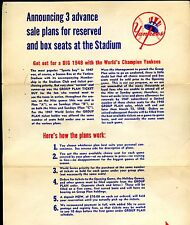 1948 New York Yankees Baseball Season Ticket Order Form