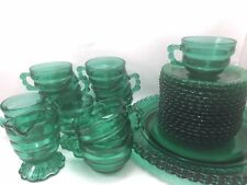 Lot of 30 INDIANA GLASS GREEN CHRISTMAS CANDY Cream Sugar Cups Saucers Plates
