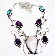 Scolecite Amethyst Blue Topaz Necklace Earrings Set GW