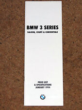 1994 BMW 3 SERIES SALOON COUPE & CONVERTIBLE PRICE LIST & SPECIFICATIONS inc M3