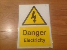 DANGER ELECTRICITY SAFETY RIGID Plastic A4 300 x 200