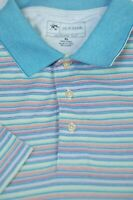 Jos A Bank Men's Spring Blue Stripe Leadbetter Golf Cotton Polo Shirt XL XLarge