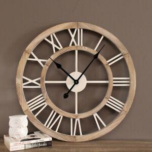 Large Natural White Hamptons Scandi Wooden Wall Clock 60 cm
