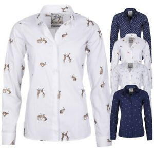Ladies Patterned Shirt Rydale Wistow Country Shirts Women's Long Sleeve Blouse