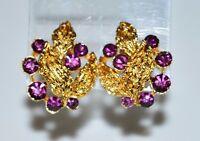 VTG CROWN TRIFARI Gold Tone Purple Rhinestone Flower Clip Earrings