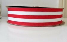 """2 yards - 38mm (1.5"""")  wide RED/WHITE  STRIPE WOVEN STRIPE DOUBLE SIDED RIBBON"""