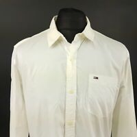 Tommy Hilfiger Mens Shirt MEDIUM Long Sleeve White Regular Fit No Pattern Cotton