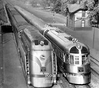CB&Q Burlington Aeolus Steam Locomotive & Zephyr Train Railroad photo