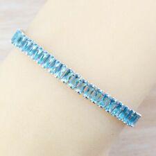 Aquamarine Blue Crystals Chain Bracelet 925 Sterling Silver Women