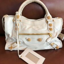 BALENCIAGA Motocross Giant 21 City Lamb Handbag Praline/Creme Leather Gold Studs