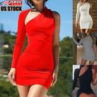 Women's Sexy One Shoulder Bodycon Dress Ladies Evening Party Club Cocktail Dress