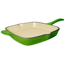 Fancy Cook Enamel Cast Iron Green Square Grill Pan 10 1/2-Inch, on Sale!
