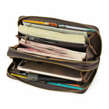 Vintage Men Leather Clutch Long Wallet Zipper Cowboy Purse Card Holder Purse