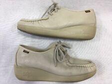 SAS Handsewn Shoes Womens 6.5 WW Lace Up Comfort Walking Leather Beige Bone USA