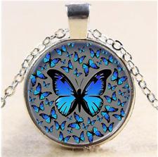 Blue Butterflies Photo Cabochon Glass Tibet Silver Chain Pendant Necklace#E5E
