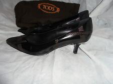 TOD'S WOMEN BLACK LEATHER/BROWN THREAD SLIP ON HEEL SHOES SIZE UK 7 EU 40 VGC