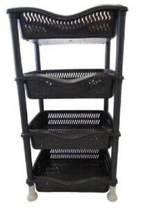 4 Tier Food Fruit Vegetable Veg Rack Kitchen Holder Basket Storage Trolley Black