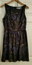 Cupcakes and Cashmere 6 Dress Sleeveless Navy Blue Black White Floral (S201)