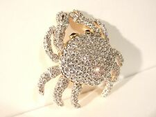 Swarovski Crystal PAVE' Zodiac Cancer CRAB 18K GP BROOCH PIN Signed NEW