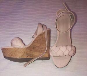 ASOS - Baby Pink Faux Suede /Cork Look Wedges Size 36 (UK 3) - BNWOB