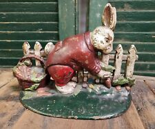 Rare Original Paint Antique Peter Rabbit Cast Iron Door Stop