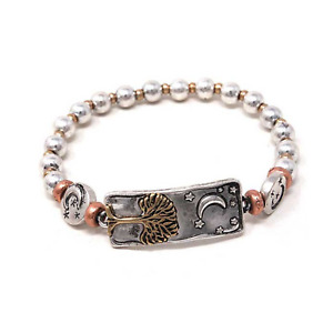 Bar Moon and Tree Beaded Stretch Bangle Bracelet Silver NEW
