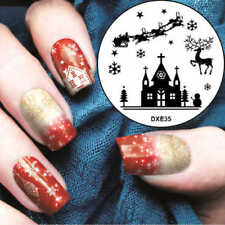 Christmas Santa Sleigh Snow Nail Art Stamp Decals Nails Stamping Plate dxe35A