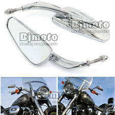 Pair Universal Rearview Mirrors For Harley Motorcycle Cruiser Chopper Chrome